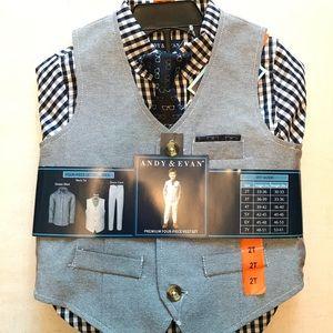 Andy & Evan 2T Dress Suit Set Vest Pants Gray Boy